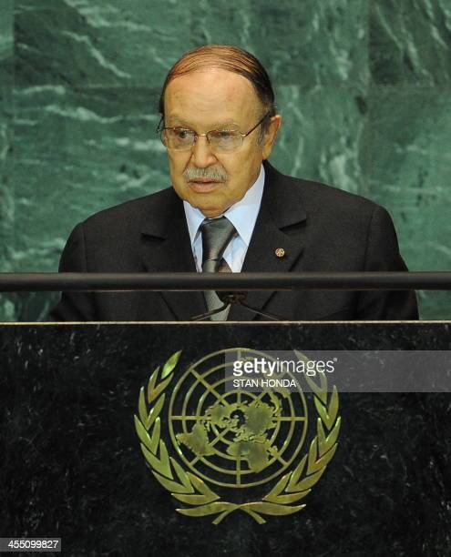 Abdelaziz Bouteflika President of Algeria speaks during the United Nations General Assembly September 23 2009 at UN headquarters in New York AFP...