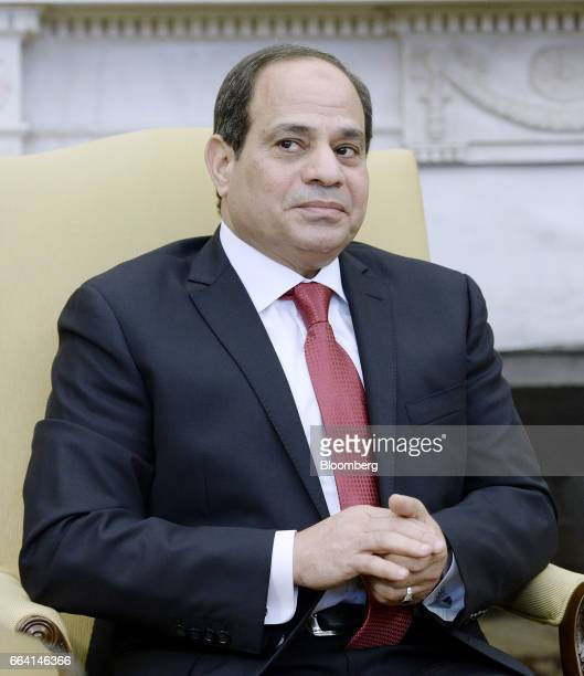 AbdelFattah ElSisi Egypt's president listens during a meeting with US President Donald Trump not pictured inside the Oval Office of the White House...