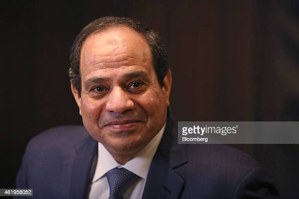 AbdelFattah ElSisi Egypt's president pauses during a Bloomberg Television interview on day two of the World Economic Forum in Davos Switzerland on...