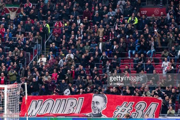Abdelhak Nouri of Ajax banner fans during the Dutch Eredivisie match between Ajax Amsterdam and AZ Alkmaar at the Johan Cruijff Arena on April 29...