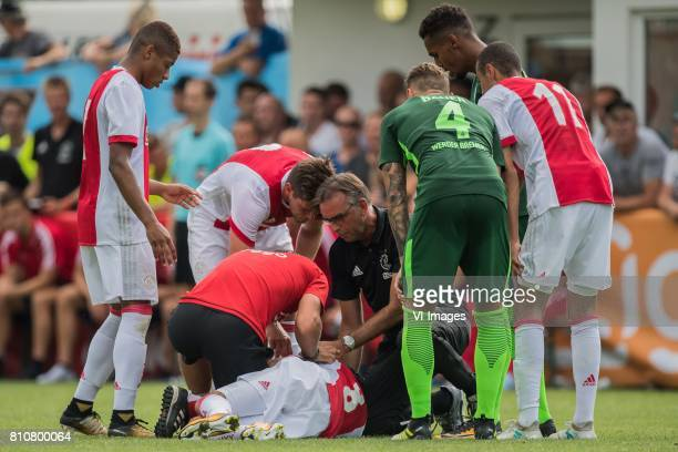 Abdelhak Nouri of Ajax is very badly injured during the friendly match between Ajax Amsterdam and SV Werder Bremen at Lindenstadion on July 08 2017...