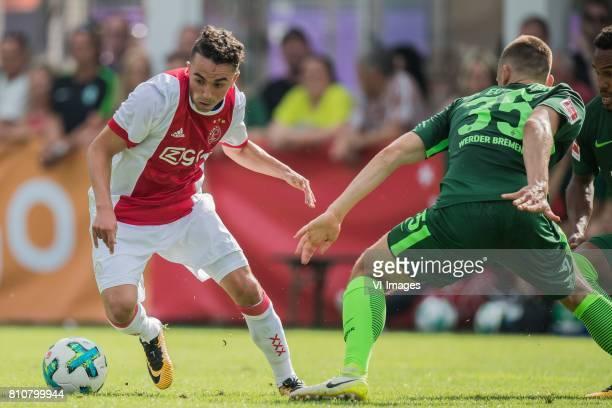 Abdelhak Nouri of Ajax Maximilian Eggestein of SV Werder Bremen during the friendly match between Ajax Amsterdam and SV Werder Bremen at...