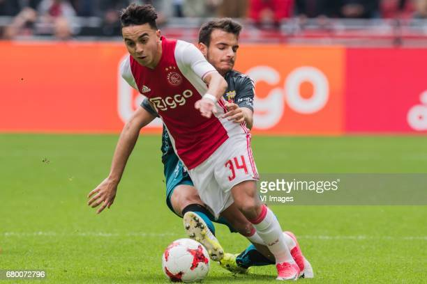 Abdelhak Nouri of Ajax Pedro Chirivella Burgos of Go Ahead Eaglesduring the Dutch Eredivisie match between Ajax Amsterdam and Go Ahead Eagles at the...