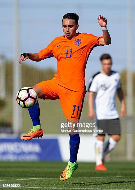 Abdelhak Nouri of Netherlands in action during the international friendly match between Austria U21 and Netherlands U21 at Pinatar Arena on March 27...