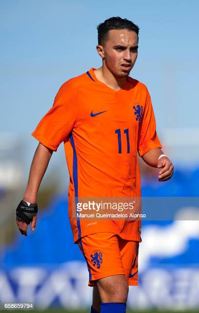 Abdelhak Nouri of Netherlands looks on during the international friendly match between Austria U21 and Netherlands U21 at Pinatar Arena on March 27...