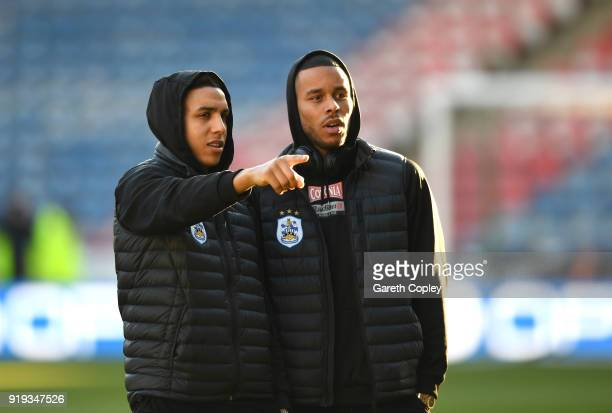 Abdelhamid Sabiri and Mathias Jorgensen of Huddersfield Town look on ahead of the The Emirates FA Cup Fifth Round between Huddersfield Town v...