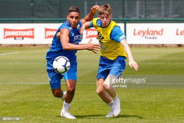 Abdelhamid Sabiri and Matty Daly of Huddersfield Town during pre season training on July 5 2018 in Huddersfield England