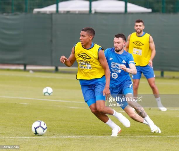 Abdelhamid Sabiri and Scott Malone of Huddersfield Townduring pre season training on July 5 2018 in Huddersfield England