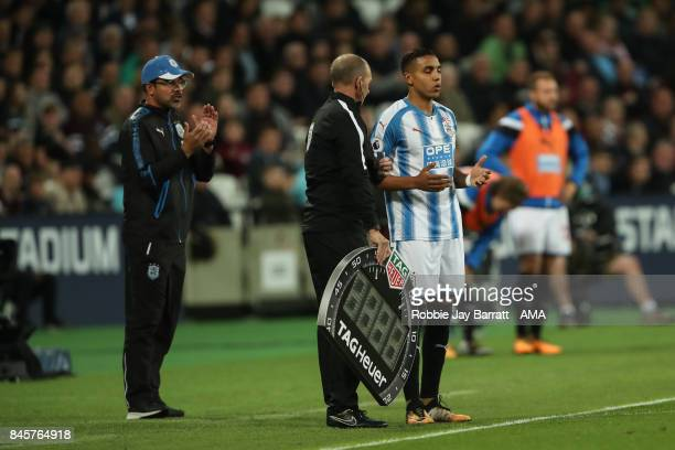 Abdelhamid Sabiri of Huddersfield Town comes on to make his debut during the Premier League match between West Ham United and Huddersfield Town at...