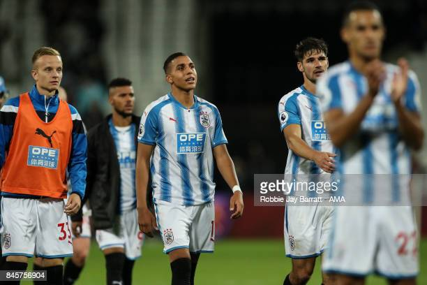 Abdelhamid Sabiri of Huddersfield Town dejected at full time during the Premier League match between West Ham United and Huddersfield Town at London...