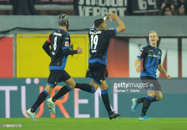 Abdelhamid Sabiri of SC Paderborn 07 celebrates after scoring his sides first goal during the Bundesliga match between SC Paderborn 07 and Eintracht...
