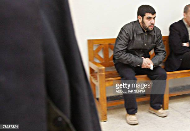 Abdelilah Hriz the presumed mastermind of the March 11 2004 Madrid attacks waits to be heard by Spanish judge Juan del Olmo at Sale court near Rabat...
