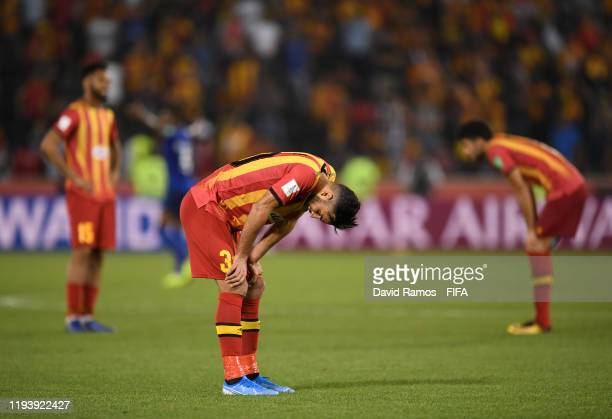Abdelkader Bedrane of Esperance Sportive de Tunis reacts following defeat in the FIFA Club World Cup 2nd round match between Al Hilal and Esperance...