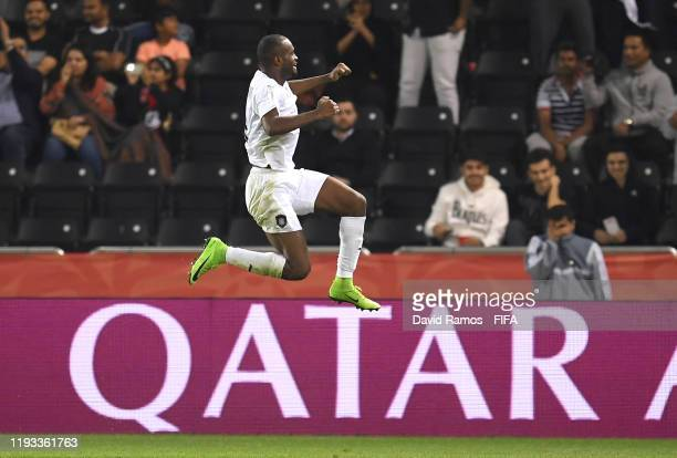 Abdelkarim Hassan of AlSadd Sports Club celebrates after scoring his team's second goal during the FIFA Club World Cup Qatar 2019 match between...