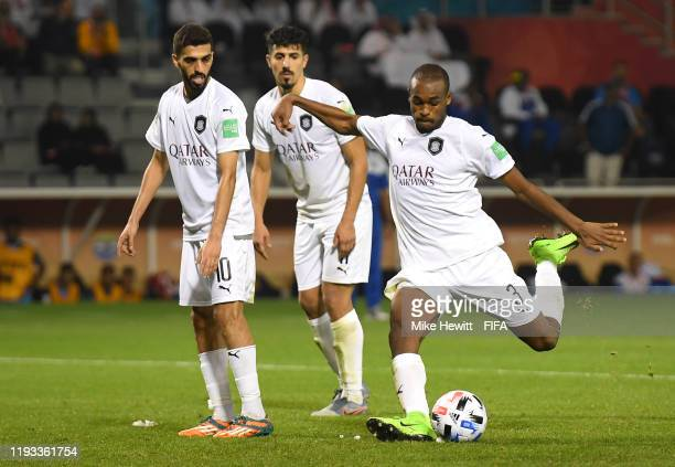 Abdelkarim Hassan of AlSadd Sports Club scores his team's second goal from a free kick during the FIFA Club World Cup Qatar 2019 match between AlSadd...
