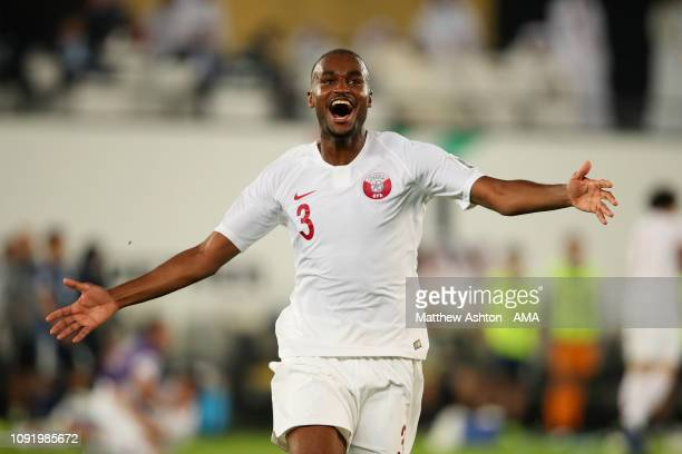 Abdelkarim Hassan of Qatar celebrates at the end of the AFC Asian Cup final match between Japan and Qatar at Zayed Sports City Stadium on February 1...