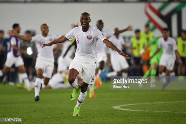 Abdelkarim Hassan of Qatar celebrates the victory at the end of the AFC Asian Cup final match between Japan and Qatar at Zayed Sports City Stadium on...