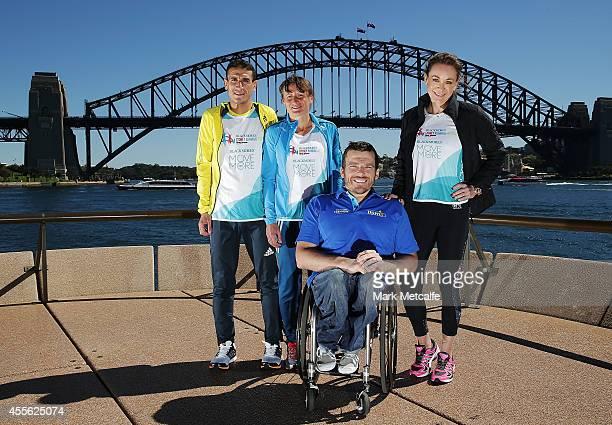 Abdella Tagharafet Karolina Jarzynska Kurt Fearnley and Michelle Bridges pose ahead of the Blackmores Sydney Running Festival at Sydney Opera House...