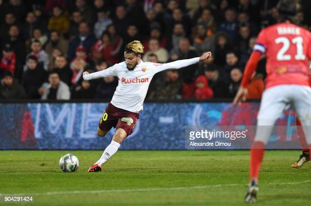 Abdellah Zoubir of Lens during the Ligue 2 match between Nimes and Lens at Stade des Costieres on January 12 2018 in Nimes France