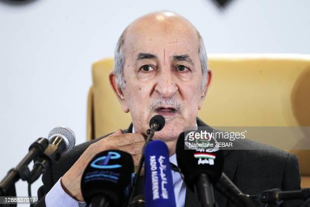 Abdelmadjid Tebboune vainqueur au premier tour de l'élection présidentielle algérienne lors d'une conférence de presse le 13 décembre 2019, Alger,...