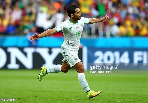 Abdelmoumene Djabou of Algeria celebrates scoring his team's third goal during the 2014 FIFA World Cup Brazil Group H match between Korea Republic...