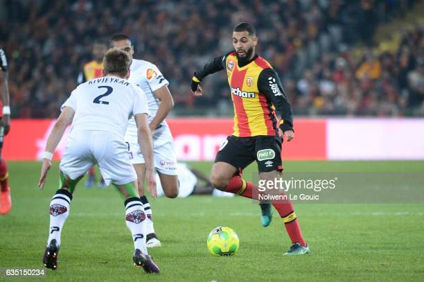 Abdelrafik Gerard of Lens during the Ligue 2 match between Racing Club de Lens and Clermont Foot at Stade BollaertDelelis on February 13 2017 in Lens...