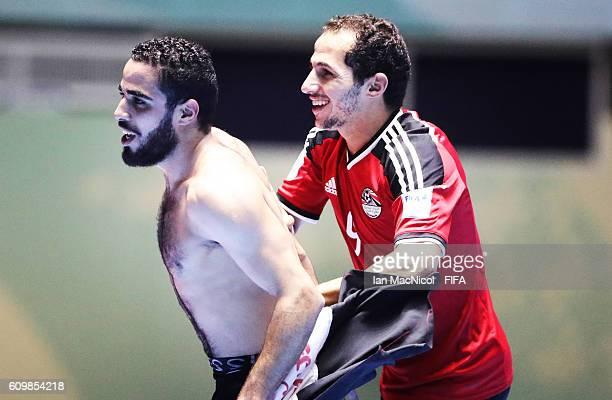 Abdelranham Elashwal and Mohamed Mido of Egypt celebrates victory during the FIFA Futsal World Cup Round of 16 match between Italy and Egypt at the...