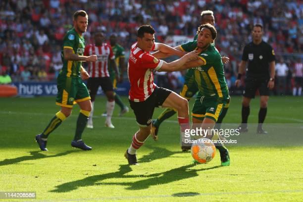 Abdenasser El Khayati of ADO Den Haag battles for the ball with Michal Sadilek of PSV during the Eredivisie match between PSV and ADO Den Haag at...