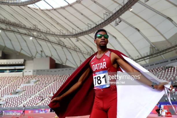 Abderrahman Samba of Qatar celebrates after winning the final of the Men's 400m Hurdles during day two of the 23rd Asian Athletics Championships at...