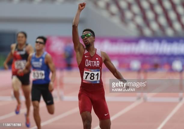 Abderrahman Samba of Qatar celebrates as he wins the final 400m Hurdles Men on the second day of the 23rd Asian Athletics Championships at Khalifa...