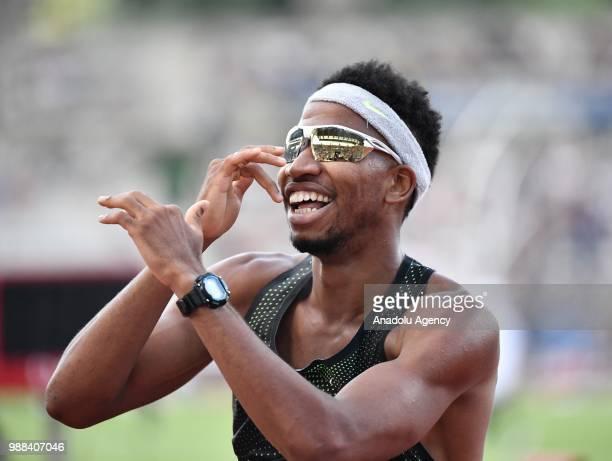 Abderrahman Samba of Qatar celebrates his victory in the Men's 400m Hurdles at the IAAF Diamond League meeting at Stade Charlety in Paris France on...