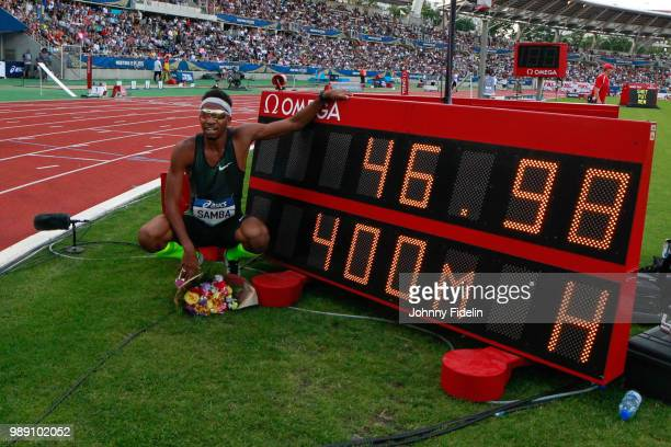 Abderrahman Samba of Qatar clocked the secondfastest 400m world record during the 400m Hurdles the Meeting of Paris on June 30 2018 in Paris France