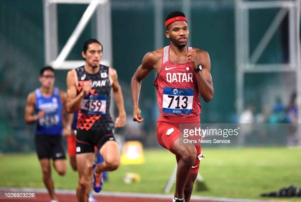 Abderrahman Samba of Qatar competes during the Men's 400m Hurdles on day nine of the 2018 Asian Games on August 27 2018 in Jakarta Indonesia