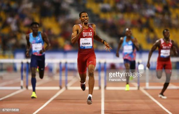 Abderrahman Samba of Qatar races to the line to win the Men's 400 metre hurdles during the Doha IAAF Diamond League 2017 at the Qatar Sports Club on...