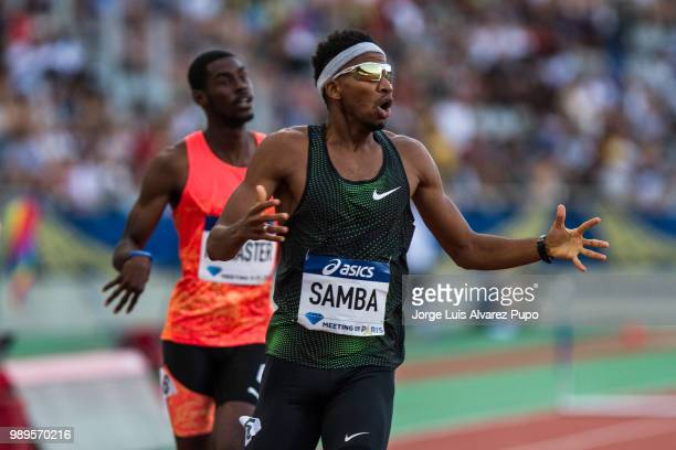 Abderrahman Samba of Qatar reacts after setting the second fasted time in history in the 400m Hurdles men of the IAAF Diamond League Meeting de Paris...