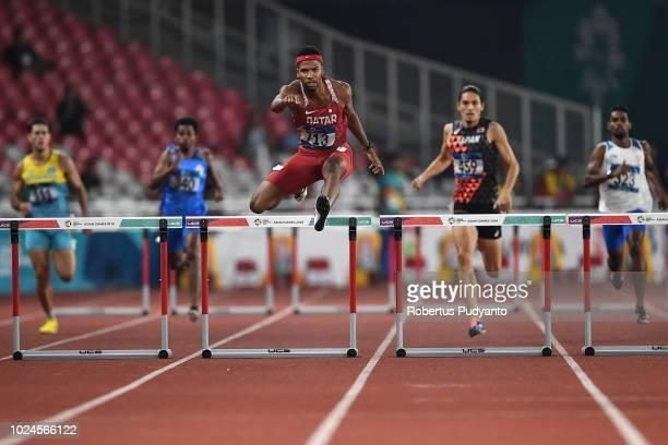 Abderrahman Samba of Qatar runs during Men's 400m Hurdles Final on day nine of the Asian Games on August 27 2018 in Jakarta Indonesia
