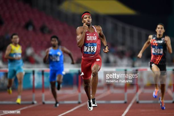 Abderrahman Samba of Qatar runs during Men's 400m Hurdles Final on day nine of the Asian Games on August 27 2018 in Jakarta Indonesia