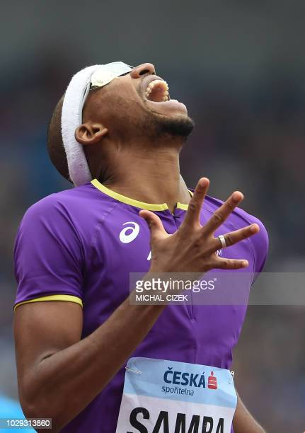 Abderrahman Samba of Quatar from Team Asia and Pacific reacts after the Men 400m Hurdles event at the IAAF Continental Cup on September 8 2018 in...