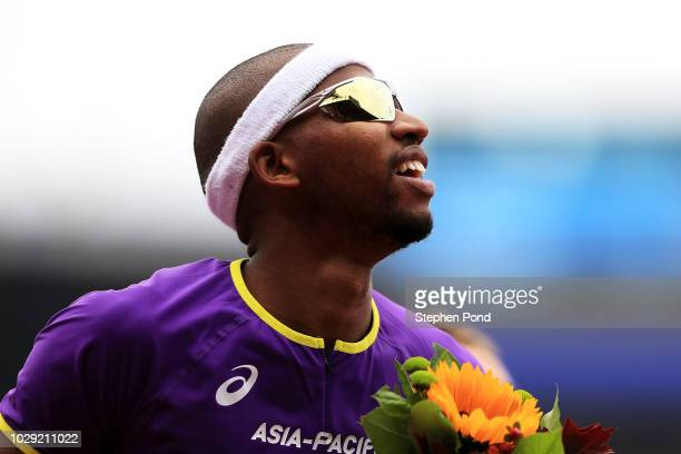 Abderrahman Samba of Team AsiaPacific celebrates victory following the Mens 400 Metres during day one of the IAAF Continental Cup at Mestsky Stadium...