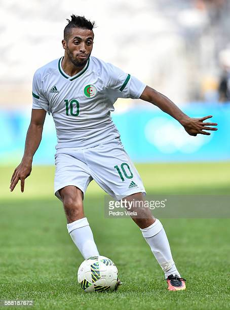 Abderrahmane Meziane of Algeria in action during the Men's Group D match between Algeria and Portugal on Day 5 of the Rio 2016 Olympic Games at...