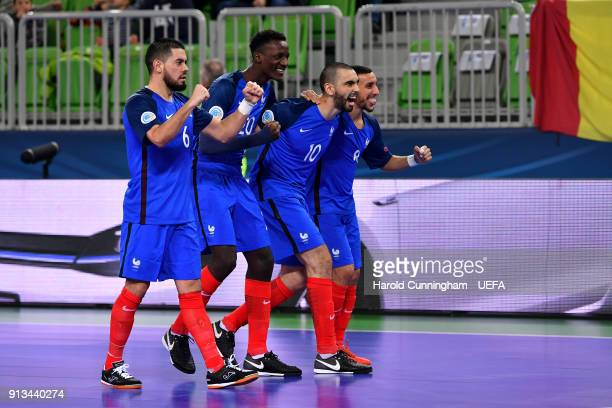 Abdessamad Mohammed of France celebrates with his team mates scoring during  the UEFA Futsal EURO 2018 9b4c931a47720