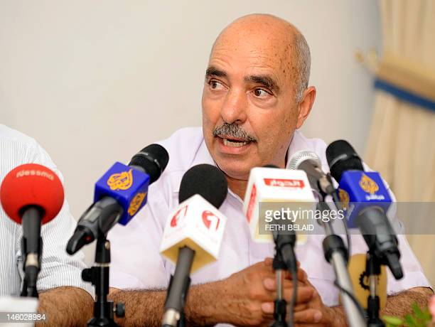 Abdessatter Ben Moussa lawyer and president of the Tunisian League of Human Rights speaks during a press conference on June 9 2012 in Tunis following...