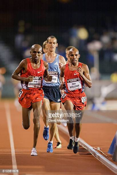 Abdi Abdirahman Alan Culpepper and Meb Keflezighi of the USA compete in the Men's 10000 meter event of the 2003 USA Track and Field Outdoor...
