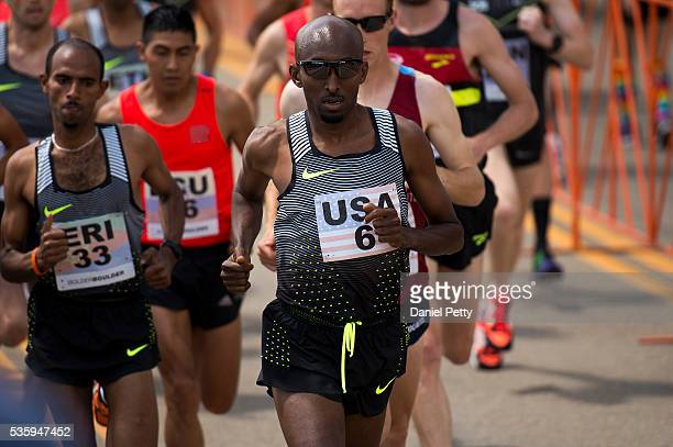 Abdi Abdirahman of the United States competes during the men's elite race during the Bolder Boulder 10K on May 30 in Boulder Colorado Abdirahman...