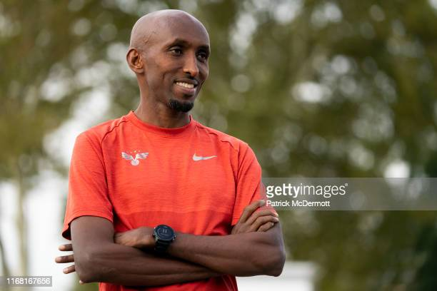 Abdi Abdirahman of the United States takes part in a shakeout run with runners taking part in the 15th running of the Humana Rock n Roll Philadelphia...