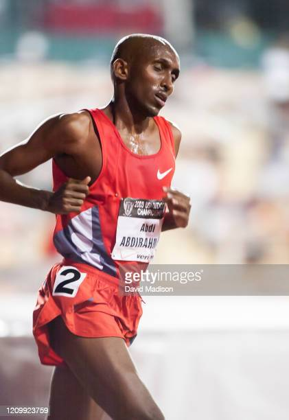 Abdi Abdirahman of the USA competes in the Men's 10000 meter event of the 2003 USA Track and Field Outdoor Championships on June 19 2003 at Stanford...