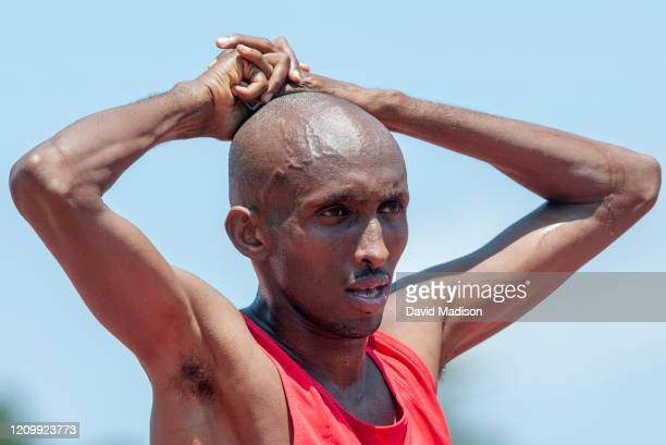 Abdi Abdirahman of USA competes in the Oracle US Open Track and Field Meet on June 7 2003 at Cobb Track Angell Field on the campus of Stanford...