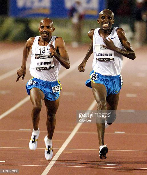Abdi Abdirahman outsprints Mebrahtom Keflizighi to win the 10000 meters 281038 to 281057 in the USA Track Field Championships at the Home Depot...