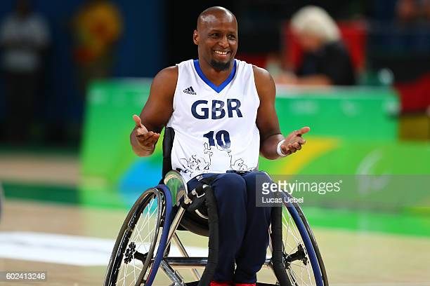Abdi Jama of Great Britain celebrates after scores two points during Wheelchair basketball match Germany against Great Britain during Rio 2016...