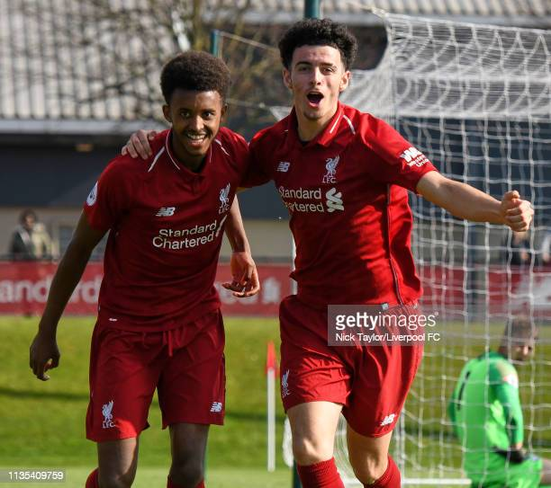 Abdi Sharif of Liverpool celebrates scoring Liverpool's second goal with Curtis Jones during the PL2 game at the Kirkby Academy on April 6 2019 in...